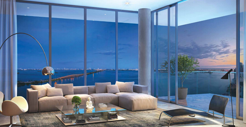 rendering of ONE Paraiso condo living room